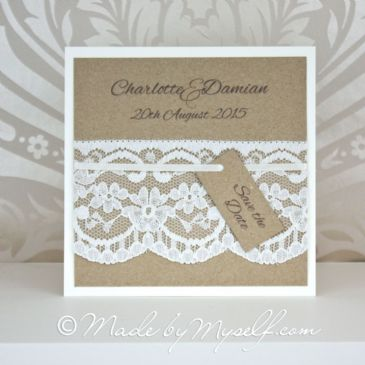 Kraft Card and Lace Save The Date